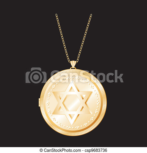 Star of David Gold Locket, Necklace - csp9683736