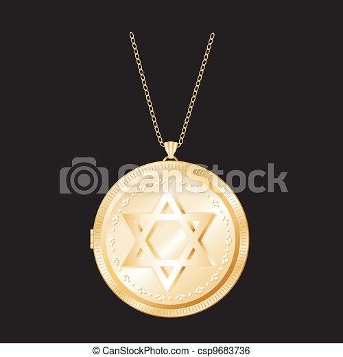 Star of David Gold Locket, Necklace - csp9683736