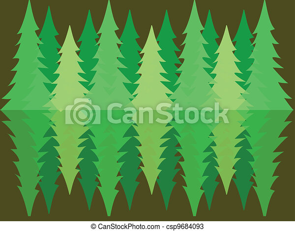pine forest reflection - csp9684093