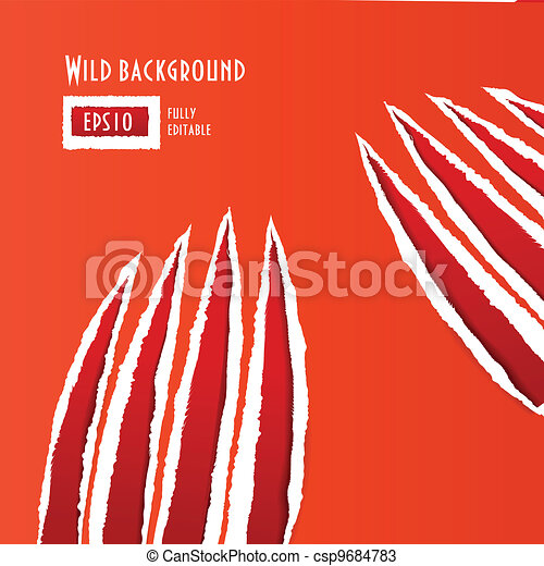 Red traces of an animal claws - csp9684783