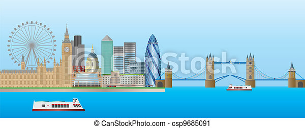 London Skyline Panorama Illustration - csp9685091