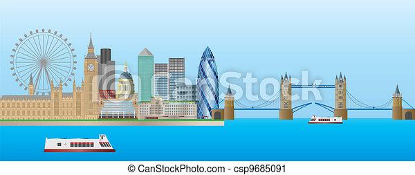 London Skyline Panorama Illustration - csp9685091
