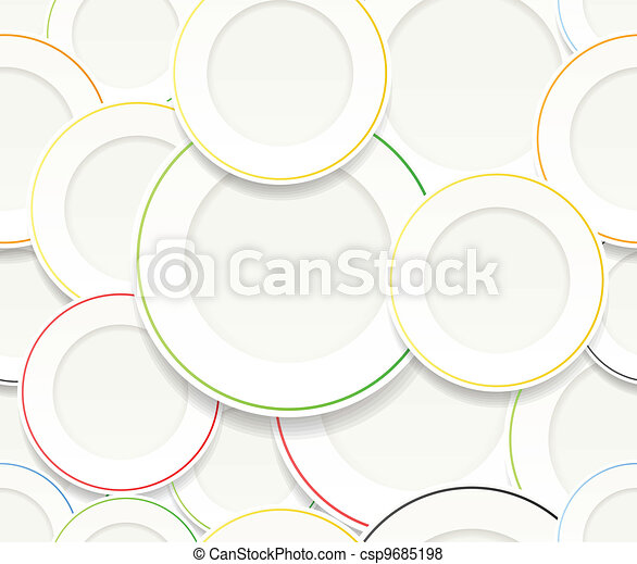 White plates set with colorful rims - csp9685198