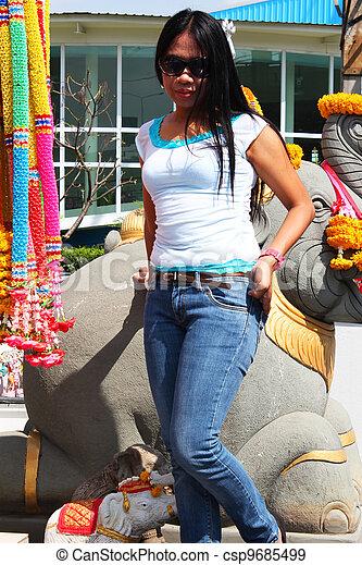 Filipino girl in Bangkok, Thailand. - csp9685499