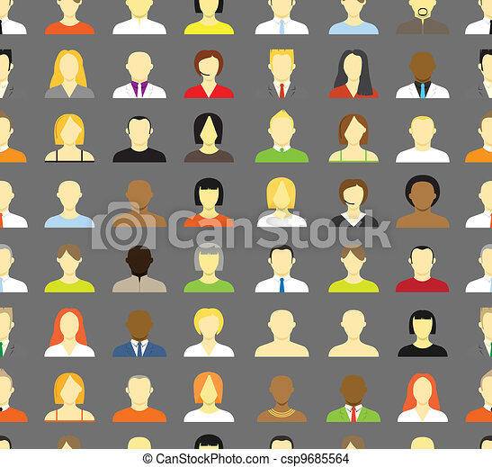 Collection of an account icons of men and women. Seamless background - csp9685564