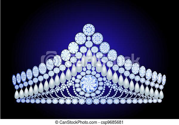 beautiful diadem feminine wedding with pearl - csp9685681