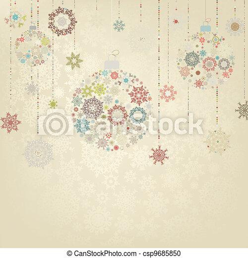 Stylized Christmas Balls, On beige. EPS 8 - csp9685850