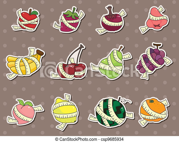 fresh fruit and ruler health stickers - csp9685934