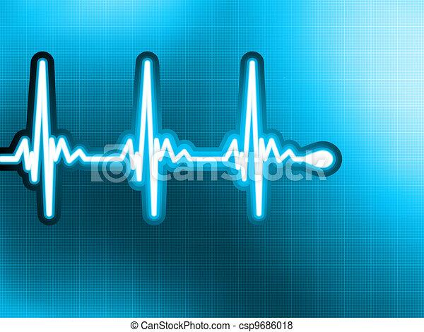 Heart cardiogram with shadow on deep blue. EPS 8 - csp9686018
