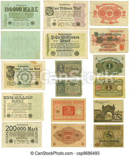 Obsolete German banknotes cut out - csp9686493