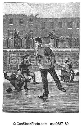 People spends the day ice-skating outdoors - csp9687189