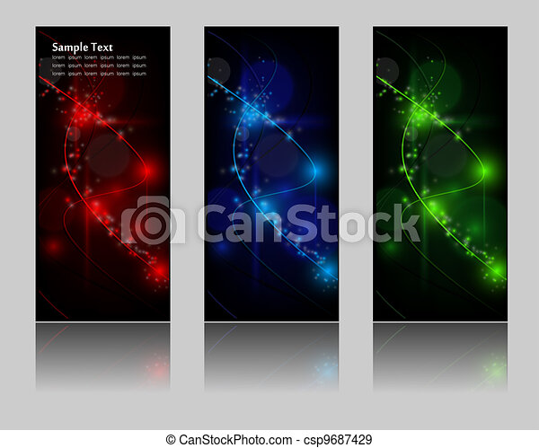 abstract glowing banners - csp9687429