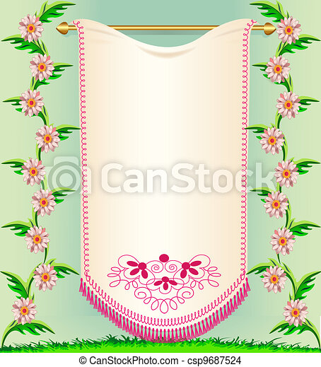 napkin on background rose colour and herbs - csp9687524