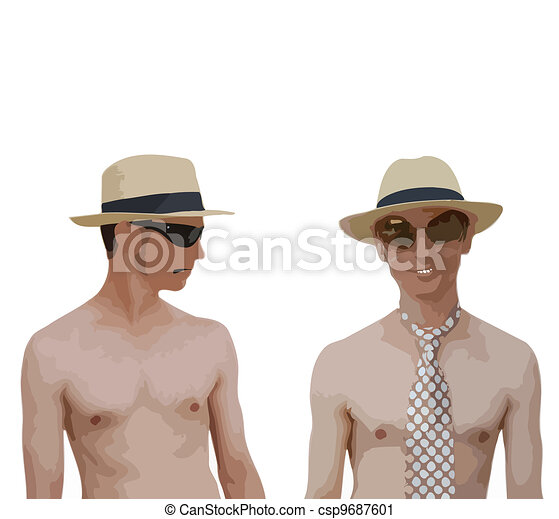 Two Watercolor fashionable man. - csp9687601