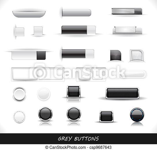 Set of grey web buttons - csp9687643