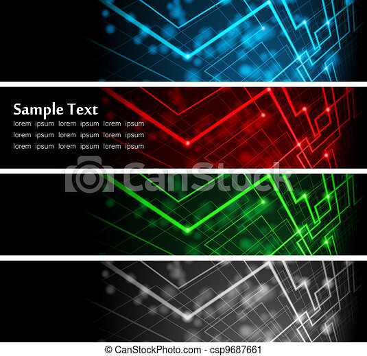 abstract glowing banners - csp9687661