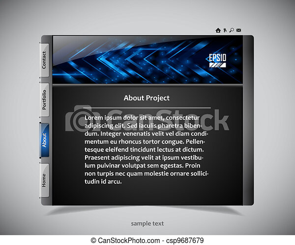 website template in black and blue colors - csp9687679