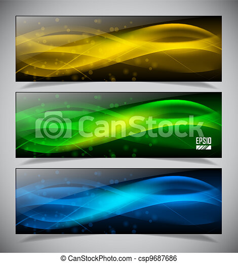 abstract glowing banners - csp9687686