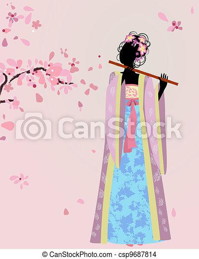 beautiful girl kimono under the sakura - csp9687814