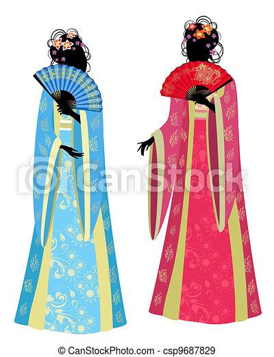 Chinese girl in a beautiful kimono - csp9687829
