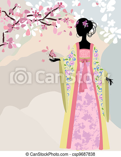beautiful girl kimono under the sakura - csp9687838