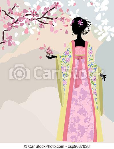 beautiful girl kimono under the sakura - csp9687838