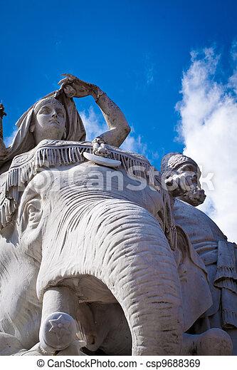 Albert Memorial, Kensington, London: detail of Asia - csp9688369