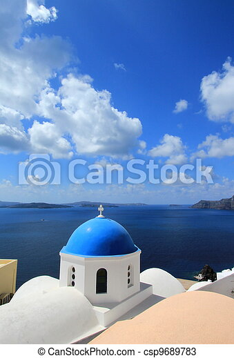 Blue dome of a church, Oia, Santorini, Greece - csp9689783