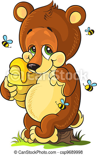 Cute bear cub with honey - csp9689998