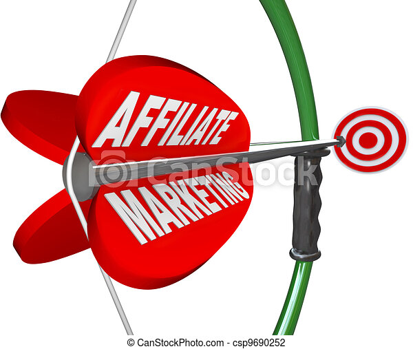 Affiliate Marketing Bow and Arrow Aimed at Target - csp9690252