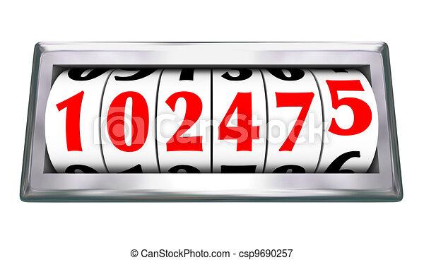 Odometer Wheels Numbers Age Mileage of Vehicle - csp9690257