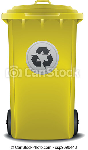 yellow recycling bin - csp9690443