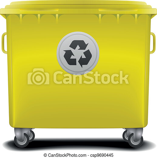 yellow recycling bin - csp9690445