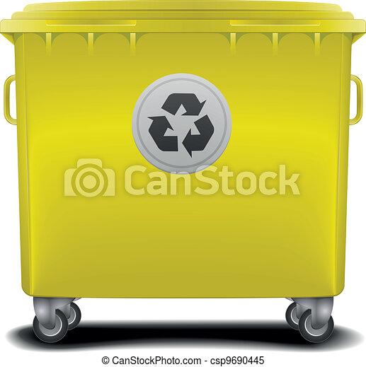 yellow recycling bin - csp9690445