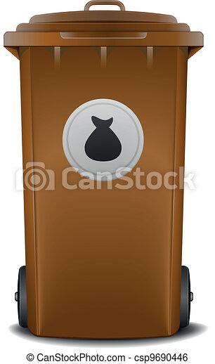 brown recycling bin - csp9690446
