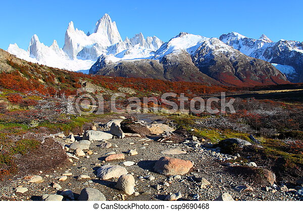 Beautiful nature landscape with Mt. Fitz Roy as seen in Los Glaciares National Park, Patagonia, Argentina  - csp9690468