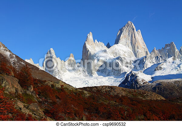 Beautiful nature landscape with Mt. Fitz Roy as seen in Los Glaciares National Park, Patagonia, Argentina  - csp9690532
