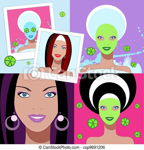 Beautiful woman. Spa Facial Mask. - csp9691206