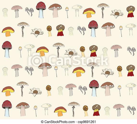 seamless, hongos, patrón - csp9691261