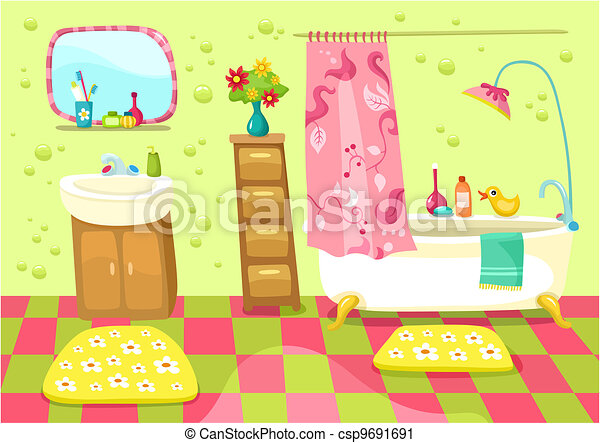 Bathroom   Vector Illustration Of A Cute Bathroom