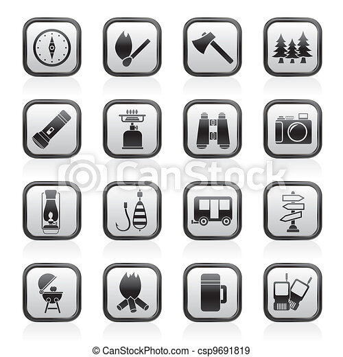 Camping, travel and Tourism icons - csp9691819