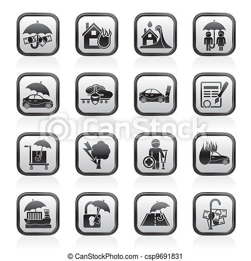 Insurance and risk icons - csp9691831