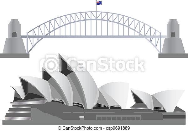 Sydney Australia Skyline Landmarks - csp9691889