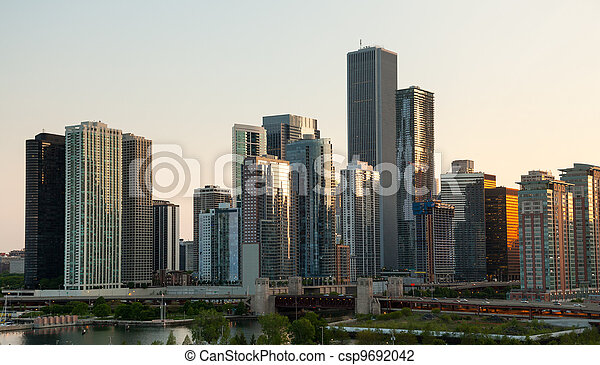 Sunset over Chicago from Navy Pier - csp9692042