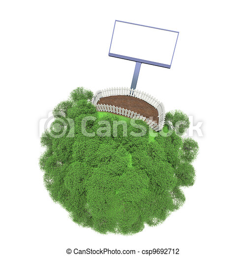 Plot of land fenced on a small green planet. Advertising stand next to the fence - csp9692712