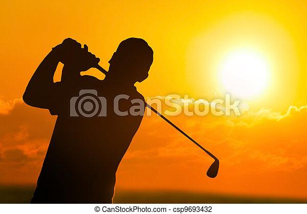 Golf Sunset Silhouette - csp9693432