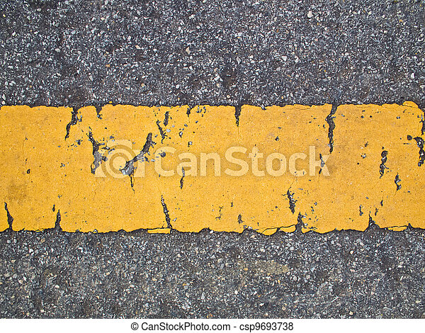 Broken yellow line on The road - csp9693738