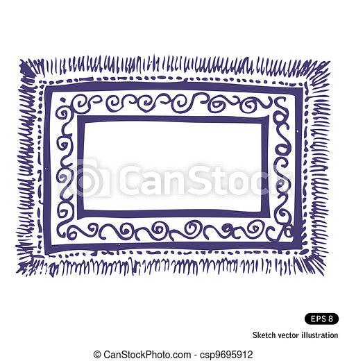 Teppich gezeichnet  Vektor Illustration von rahmen, teppich - Hand, gezeichnet ...