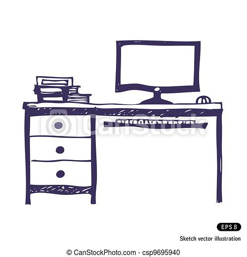 Vector Clipart of puter desk Hand drawn vector