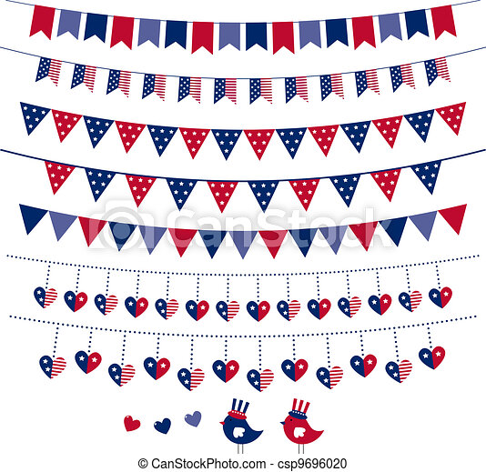 American flag themed vector bunting and garland set - csp9696020